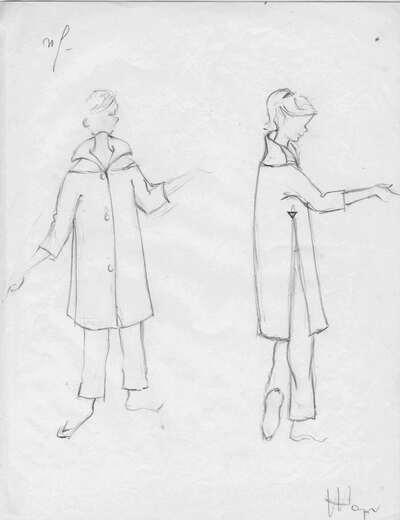 Schizzo cappotto e pantalone