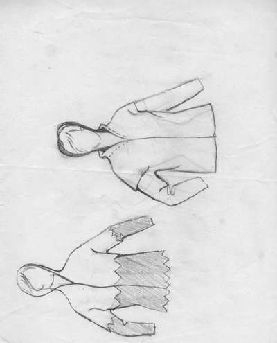 Schizzo: casacche stile medievale, con manica lunga. Casacca 1: cappuccio e finiture a punta. Casacca 2: collo a
