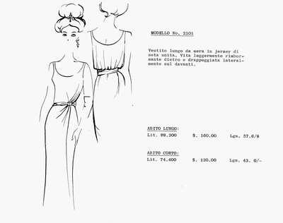 MODELLO No. 2101: abito lungo in jersey di seta in tinta unita, con scollo ovale, spallina stretta, ripreso in vita da un lato con pieghe morbide. Abbinati guanti lunghi, orecchini gioiello e fermacapelli.