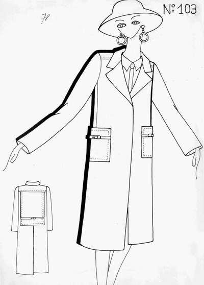 Schizzo capospalla N° 103: trench con motivo di sprone e pannello scostato posteriore, tasche abbottonate con pattina. Abbinati camicia e cravatta, cappello a tesa larga e orecchini gioiello. Dettaglio planimetria posteriore.
