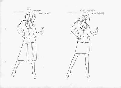 Schizzo: Mod. 6515: completo composto da giacca con collo reverse, manica lunga, due bottoni, camicia e gonna a pieghe, linea leggermente svasata, lunghezza al ginocchio. Mod. 6516: completo composto da giacca con collo reverse, manica lunga, due bottoni, tasche a pattina e gonna corta, linea dritta.
