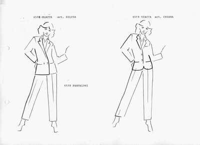 Schizzo: Mod. 6518: completo composto da giacca con collo reverse, manica lunga, due bottoni, camicia e pantalone a sigaretta. Mod. 6519: completo composto da giacca con collo reverse, manica lunga, due bottoni, camicia e pantalone a sigaretta.