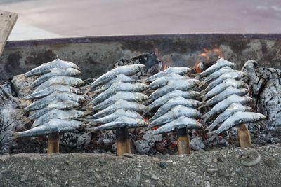 Asado de espetos de sardinas