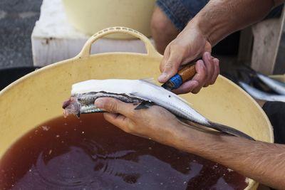 Cortado de ventresca de pez volador