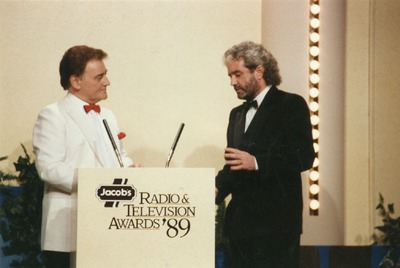 Larry Gogan on stage at the Jacob's Awards