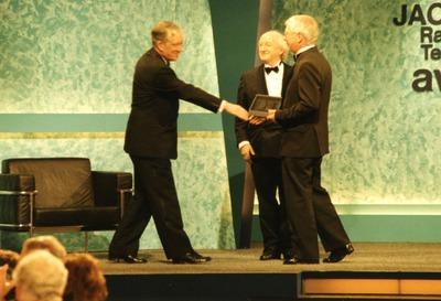 Tomás Ó Ceallaigh accepting a Jacob's Award