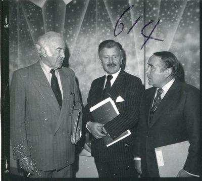 Gordon Lambert speaking with other Jacob's businessmen