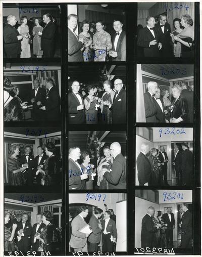 Contact sheet of guests conversing at the Jacob's Awards