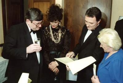 Ray Burke, [Michelle Rocca] and Mike Murphy at the Jacob's Awards