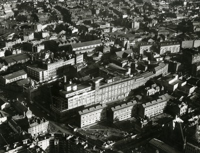 Aerial view of the Jacob's building and warehouse on Bishop Street