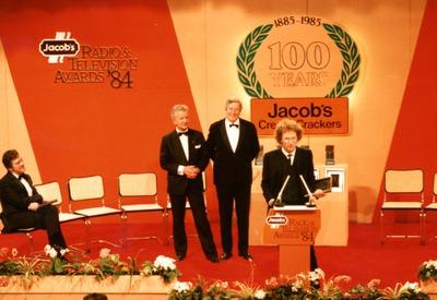 Julian Vignoles accepting a Jacob's Radio Award