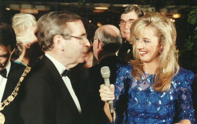 Theresa Lowe and [Brian Farrell] at the Jacob's Awards