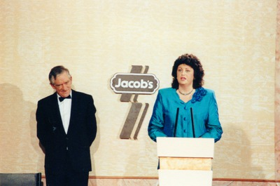 Máire Geoghegan-Quinn addressing the audience at the Jacob's Awards