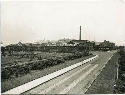 Exterior of factory and grounds at the Jacob's Aintree site