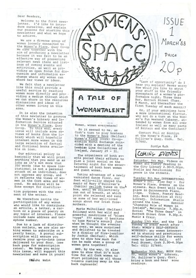 Women's Space Newsletter Issue 1 March 88