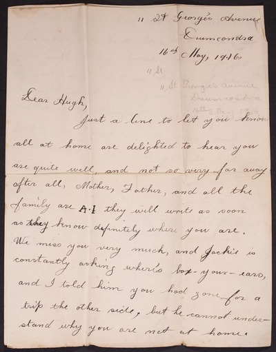 Letter from Lillian Casey to Hugh Casey