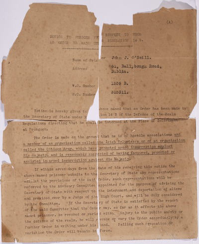 Internment papers for John J. O'Neill