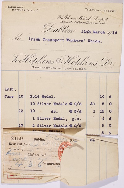 Receipt to Irish Transport Workers' Union