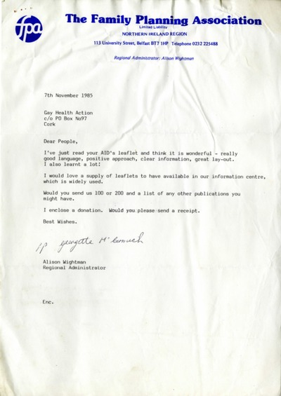 1985/86 Letters Gay Health Action / Belfast Family Planning Association