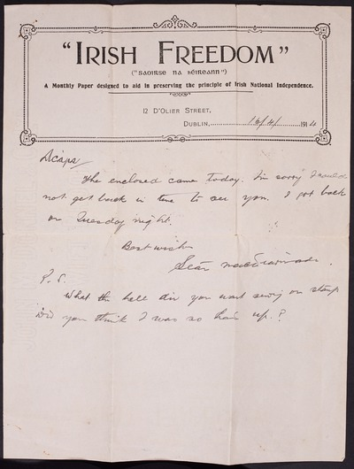 Letter from Seán Mac Diarmada to Tom Stallard