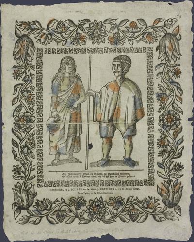 Een Indiaansche man en vrouw, de Penekaas geheeten, de kerel heeft 2 spooren aan, als of hy had te paard geseeten