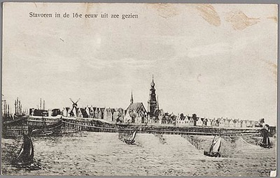 Stavoren in de 16e eeuw uit zee gezien