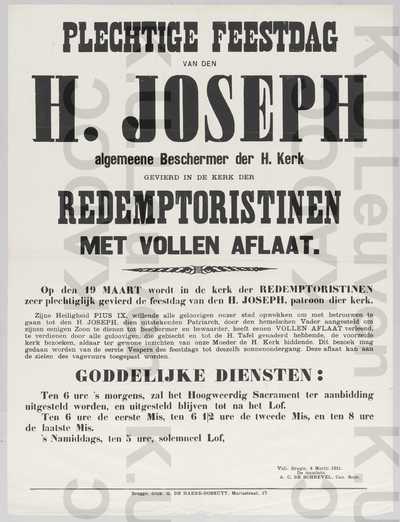 OSSR, communiteit Brugge, feestdag Sint-Jozef, Brugge, kerk redemptoristinnen, 19 maart : aankondiging