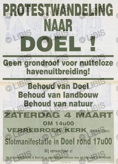 Doel 2020, campagne tegen de havenuitbreiding met protestwandeling naar Doel, Verrebroek, 4 maart 2000