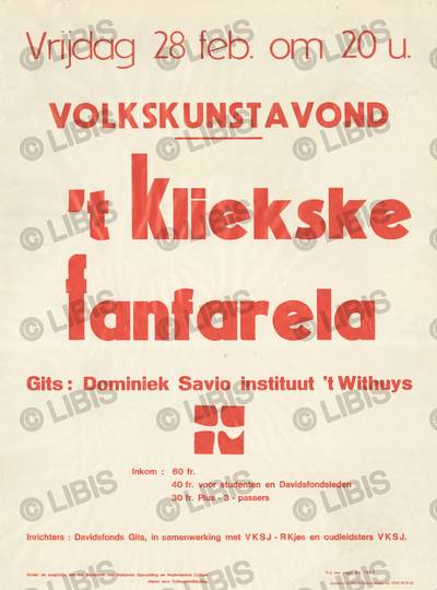 Davidsfonds, Gits, volkskunstavond met 't Kliekske en Fanfarela, 28 februari : aankondiging