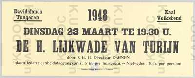 Davidsfonds, afdeling Tongeren, 'De Heilige Lijkwade van Turijn' door directeur Daenen, Tongeren, 23 maart 1948