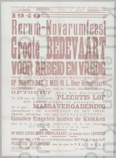 ACW, Gent, Rerum-novarumviering, 2 en 5 mei 1940 : aankondiging van het programma met o.a. een bedevaart naar Oostakker en jeugdfeest door VKAJ en KAJ