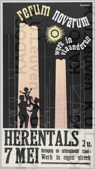 ACW, Herentals, Rerum-novarumviering 'Werk in Vlaanderen', Herentals, 7 mei 1959 : aankondiging van de viering en betoging met uitbeeldende stoet