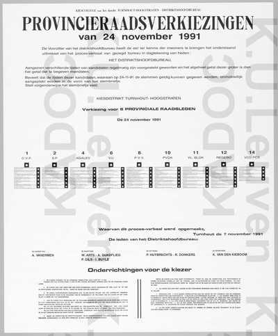 Provincie Antwerpen, arrondissement Turnhout, provinciale verkiezingen van 24 november 1991 : lijst van de kandidaten en onderrichtingen voor de kiezer