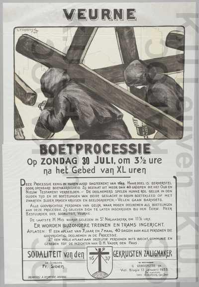 Boetprocessie, Veurne, 30 juli 1935 : aankondiging van het programma