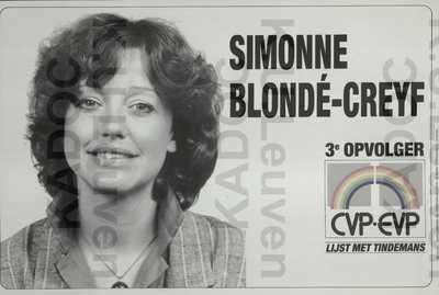 CVP-EVP, Europese verkiezingen van 17 juni 1984 : propaganda voor Simonne Blondé-Creyf, met portret en logo 'Lijst met Tindemans'
