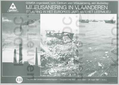 Gemisa, studiedag 'Milieusanering in Vlaanderen', Gent, RUG, faculteit landbouwwetenschappen, 28 maart 1987 : aankondiging van de studiedag in het kader van het Europees jaar van het leefmilieu