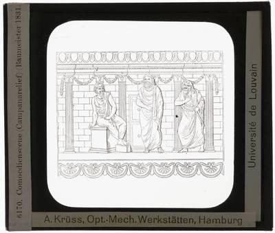 Illustratie van een reliëf. Theaterscène op campagnereliëf