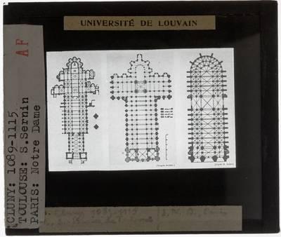 Plattegrond van drie kerken