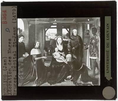 Hans Memling. Triptiek van Jan Floreins :Centraal paneel: Aanbidding der Wijzen