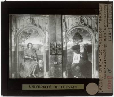 Hans Memling. Triptiek van Jan Floreins :Zijpanelen, achterzijde