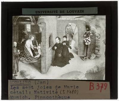 Hans Memling. De zeven vreugden van de Maagd :Detail: Geboorte