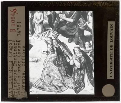Hugo van der Goes. Portinari-triptiek :Centraal paneel: De aanbidding van de herders, detail: Groep engelen rechts met het Kind