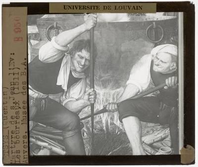 Quinten Metsijs. Triptiek van de Schrijnwerkersgilde van Antwerpen :Paneel rechts: St. Jan in de ziedende olie, detail: Twee beulen
