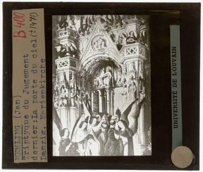 Hans Memling. Triptiek van Laatste oordeel :Paneel links: Hemel, detail: Toegangspoort van de hemel