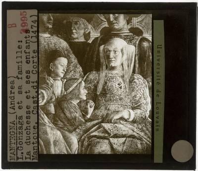 Andrea Mantegna. Het hof van Mantua :Detail: Barbara von Brandenburg en de kinderen