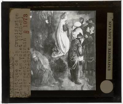 Joos van Wassenhove. Triptiek van de Calvarie :Paneel rechts: Oprichting van de koperen slang, detail onderaan