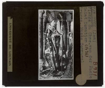 Jan van Eyck. Madonna met kanunnik Joris Van der Paele :Detail: Heilige Donatianus van Reims