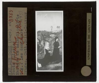 Dirk Bouts (en atelier). Hugo van der Goes. Anoniem. Triptiek met de Marteldood van de Heilige Hippolytus :Paneel links: Hippolytus Berthoz en Elisabeth van Keverswijck