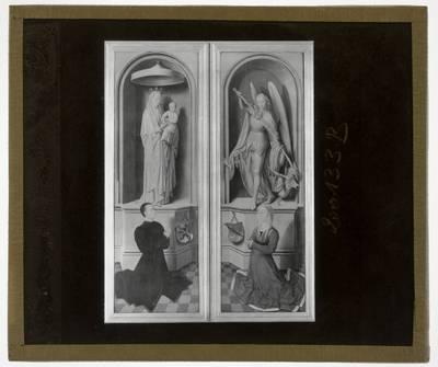 Hans Memling. Triptiek van Laatste oordeel :Zijpanelen, achterzijde