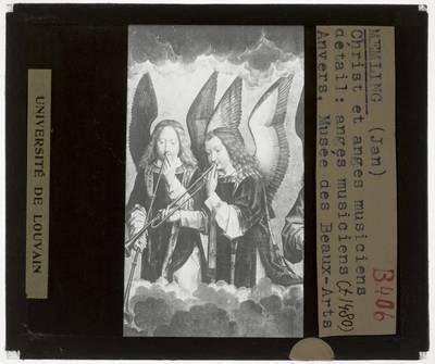 Hans Memling. Retabel van Nájera :Paneel rechts: Musicerende engelen, detail: Twee engelen blazen op een trompet